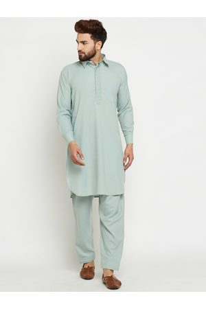 SOJANYA Men Green Solid Pathani Kurta with Salwar