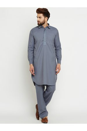 SOJANYA Men Grey Solid Kurta with Salwar