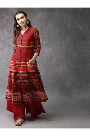 Anouk Women Red & Black Printed A-Line Kurta