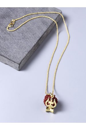 Voylla Men Yellow Gold-Plated Pendant with Chain