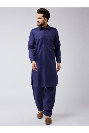 SOJANYA Men Navy Blue Solid Kurta with Salwar