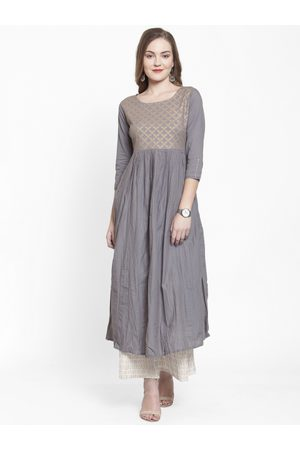Varanga Women Grey & Cream-Coloured Printed Kurta with Palazzos