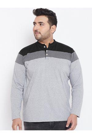 Bigbanana Plus Size Men Grey Colourblocked Henley Neck T-shirt