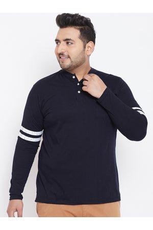 Bigbanana Plus Size Men Navy Blue Solid Mandarin Collar T-shirt