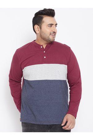 Bigbanana Plus Size Men Multicoloured Colourblocked Mandarin Collar T-shirt