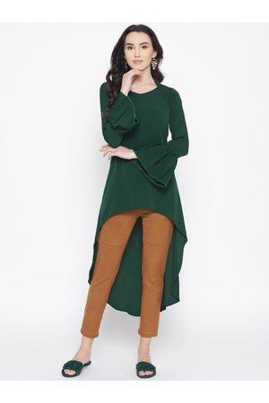Cottinfab Women Green Solid High-Low Top