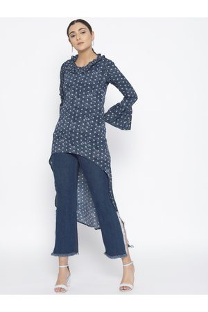 Cottinfab Women Blue Printed High-Low Top