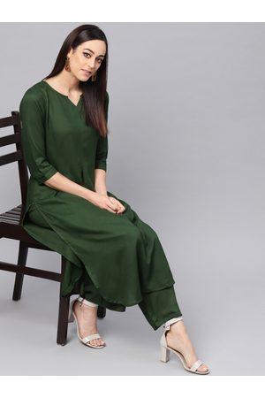 Idalia Women Green Solid Kurta with Palazzos