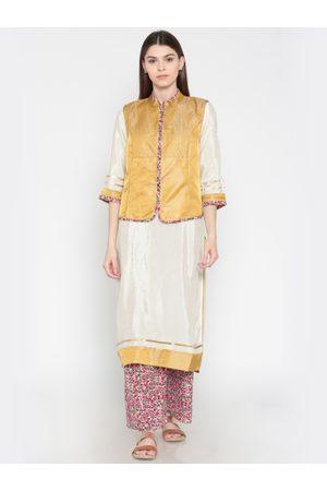AURELIA Women Off-White & Pink Solid Kurta with Palazzos & Ethnic Waistcoat