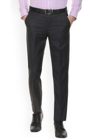 Louis Philippe Men Black Regular Fit Self Design Formal Trousers