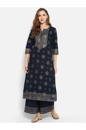 Janasya Women Blue & Grey Printed Kurti with Palazzos