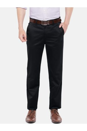Peter England Men Formal Trousers - Men Navy Slim Fit Solid Formal Trousers