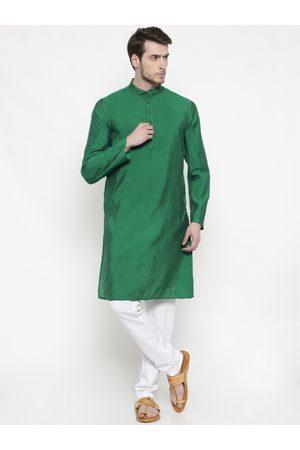 Freehand Men Green & White Solid Kurta with Pyjamas
