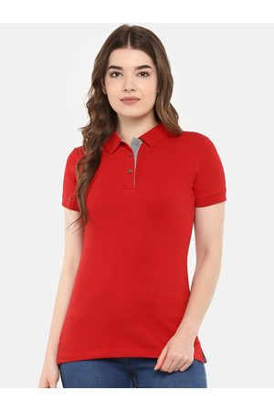 Cayman Women Red Solid Polo Collar T-shirt