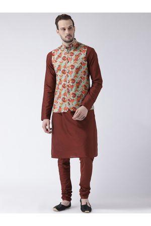 KISAH Men Brown Solid Churidar Kurta with Nehru Jacket