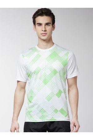 Alcis Men White Printed Round Neck Training T-shirt