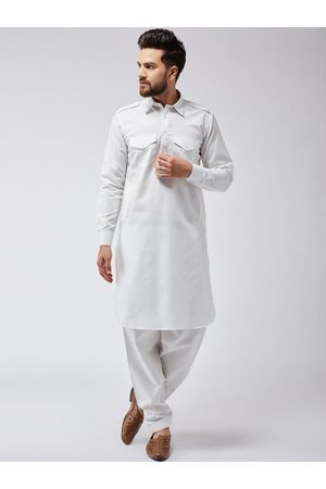 SOJANYA Men Off-White Solid Kurta with Salwar