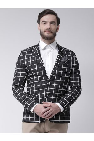 Hangup Men Checked Regular Fit Single-Breasted Blazer