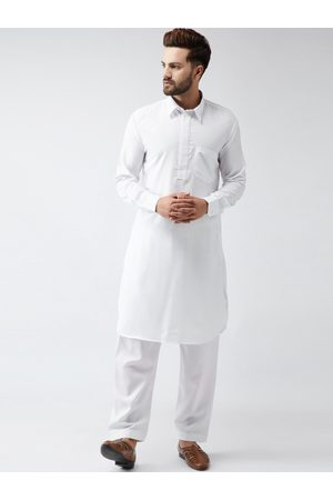 SOJANYA Men White & White Solid Kurta with Salwar