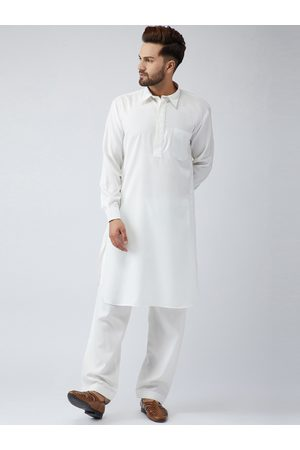 SOJANYA Men White & Cream-Coloured Solid Kurta with Salwar