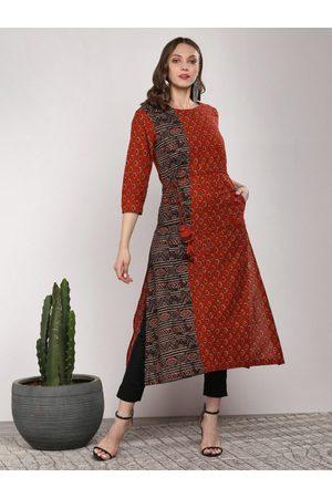 Sangria Women Rust Orange & Black Printed A-Line Kurta