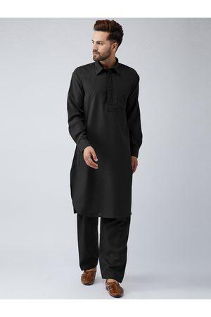 SOJANYA Men Kurtas - Men Black & Black Solid Kurta with Salwar
