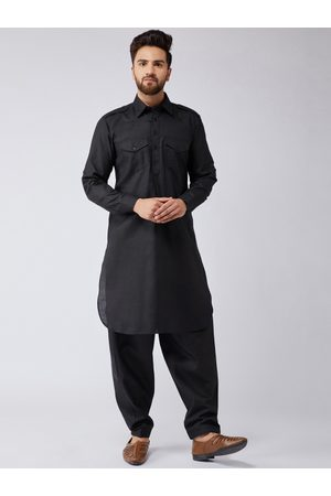 SOJANYA Men Black Solid Kurta with Salwar
