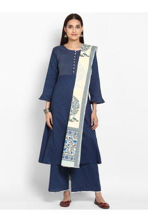 Bhama Couture Women Palazzos - Women Blue & Embroidered Kurta with Palazzos & Dupatta