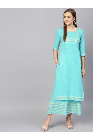 Libas Women Turquoise Blue Striped Kurta with Palazzos