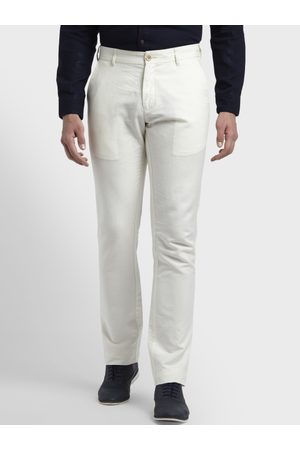 ColorPlus Men White Slim Fit Solid Formal Trousers