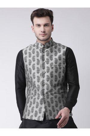 DEYANN Men Grey Printed Nehru Jacket & Pocket Square