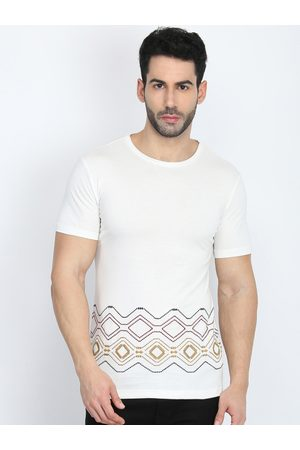 Antony Morato Men Off-White Printed Round Neck T-shirt
