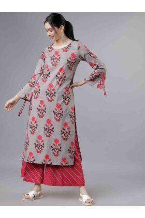 Vishudh Women Grey & Red Printed Kurti with Palazzos