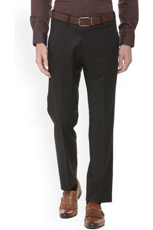 Louis Philippe Men Grey Regular Fit Solid Formal Trousers