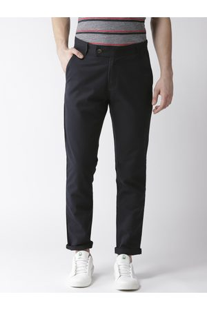 Hubberholme Men Navy Blue Slim Fit Solid Regular Trousers