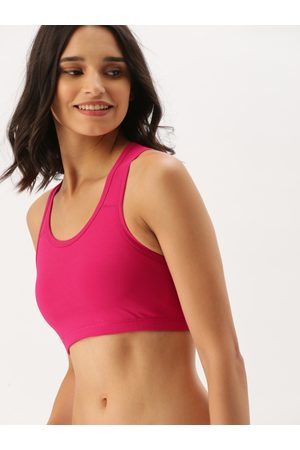 DressBerry Fuchsia Solid Non-Wired Non Padded Sports Bra