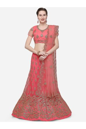 V SALES Women Pink Semi-Stitched Lehenga & Blouse with Dupatta