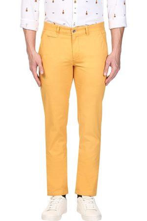 Park Avenue Men Yellow Slim Fit Solid Regular Trousers