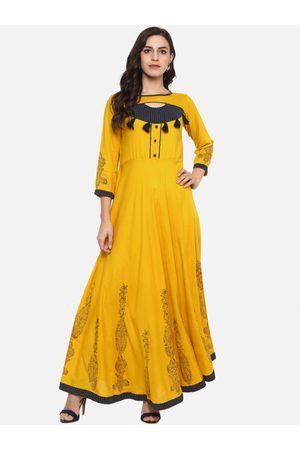 Yash Gallery Women Mustard Yellow & Blue Printed Anarkali Kurta