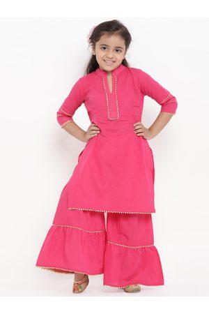 Bitiya by Bhama Girls Pink Solid Kurti with Palazzos