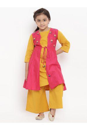 Bitiya by Bhama Girls Mustard Yellow & Pink Embroidered Kurti with Palazzos