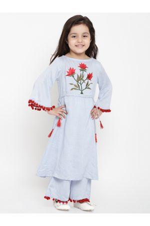 Bitiya by Bhama Girls Blue Embroidered Kurti with Palazzos
