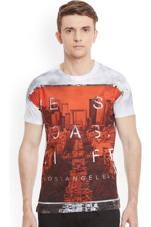 Wear Your Mind Men Rust Red Printed Round Neck T-shirt