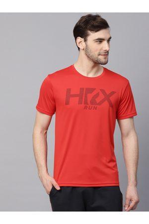 HRX Men Red Regular Fit Rapid dry Running T-shirt