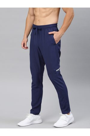 HRX Men Blue Solid Slim Fit Rapid-Dry Running Track Pants