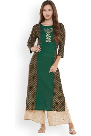 Varanga Women Palazzos - Women Green & Beige Printed Kurta with Palazzos