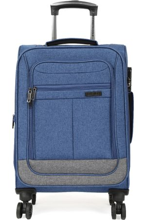 "Kenneth Cole Unisex Navy Blue & Grey Colourblocked Reaction 20"" Cabin Trolley Bag"