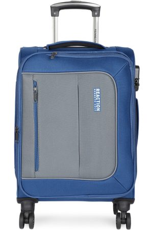 """Kenneth Cole Unisex Navy Blue & Grey Colourblocked Reaction 20"""" Cabin Trolley Suitcase"""
