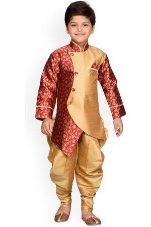 AJ DEZINES Boys Maroon & Gold-Toned Woven Design Sherwani Set