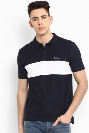 Red Tape Men Navy Blue Colourblocked Polo Collar T-shirt